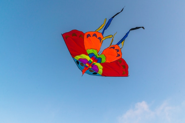 Bright colorful kite flying in the blue clear sky