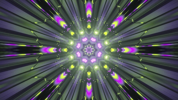 Bright colorful neon rays with light traces creating optical illusion of motion effect through fantastic sci fi tunnel as abstract art visual background in 4k uhd 3d illustration