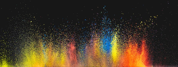The bright colorful powder explosion
