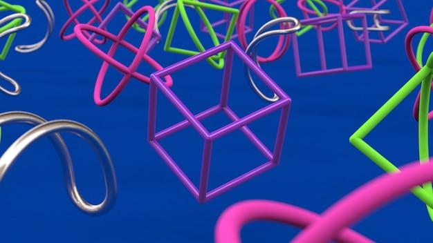 Яркие красочные формы. синий фон. закрытие. абстрактная иллюстрация, 3d визуализация.