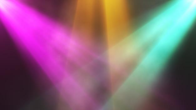 Яркие красочные прожекторы светят на сцену в дыму, концертный фон. 3d иллюстрация