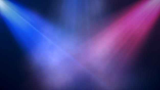 明るくカラフルなスポットライトは、煙、コンサートの背景でシーンに輝きます。 3 dイラスト
