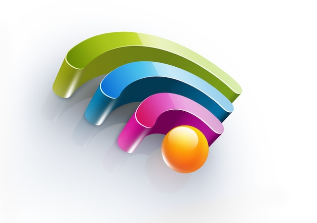 Bright colorful symbol of wi fi with soft shadow on white background realistic d image