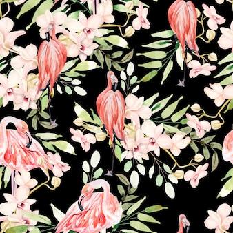 葉、花、フラミンゴの鳥と明るいカラフルな水彩パターン