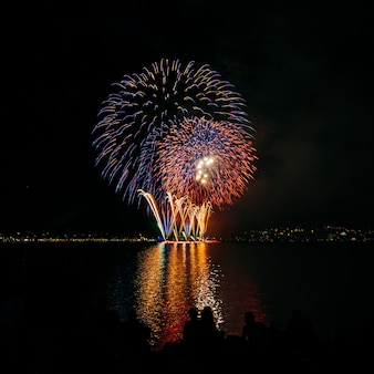 Bright coloured fireworks in dark night sky above the water