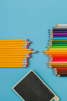 Bright composition with school supplies