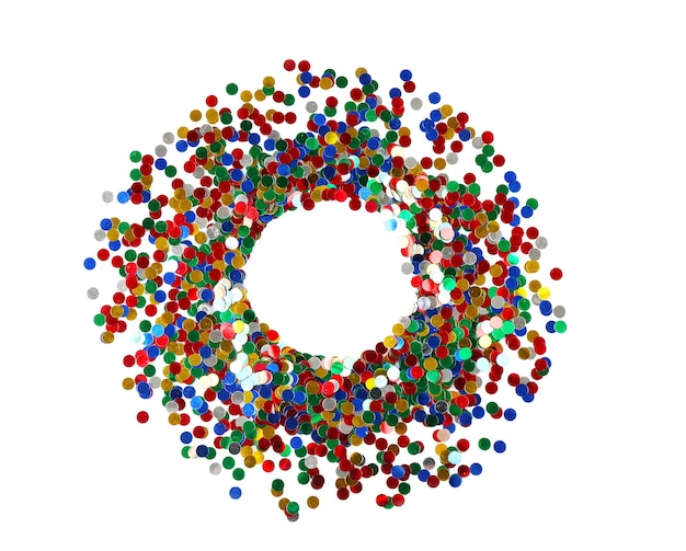 Bright confetti in shape of circle on white surface