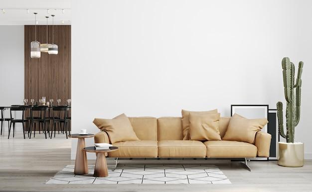 흰 벽과 나무 바닥, 가죽 소파, 식물 및 커피 테이블이있는 밝고 현대적인 거실 모형
