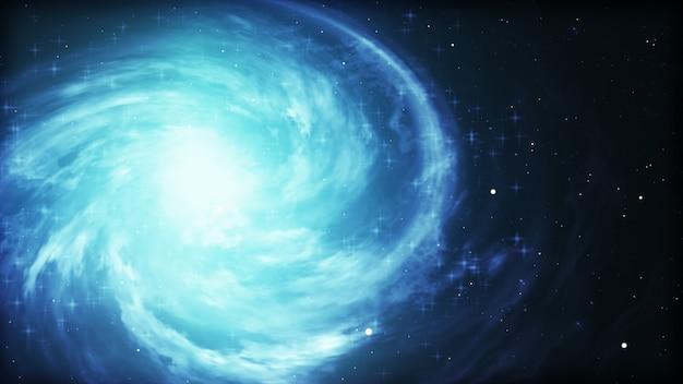 Яркий космический фон с голубой светящийся вихрь.