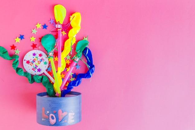 Bright creative birthday composition