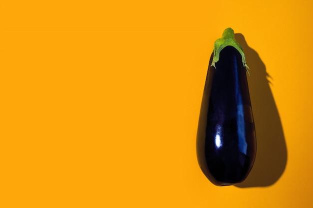 A bright dark purple eggplant with hard shadow