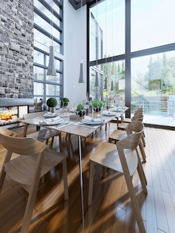 Bright design of dining with panoramic windows.