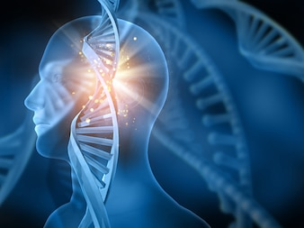 Bright dna with a human figure