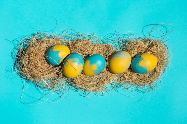 Bright easter eggs in nests on blue table