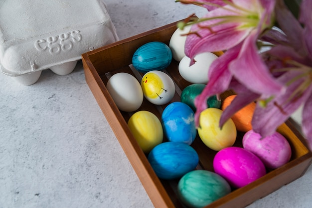 Bright easter eggs on tray