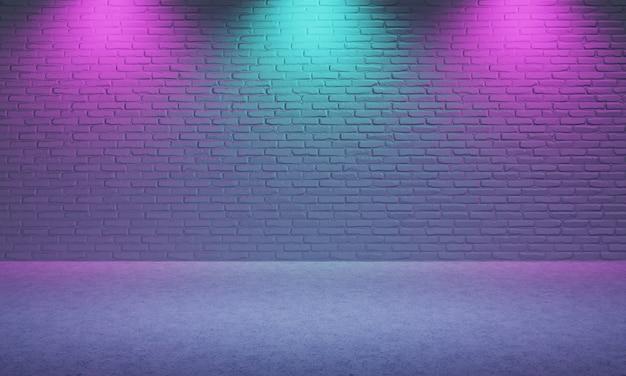 보라색과 파란색 스포트라이트 배경으로 벽돌로 만든 밝은 빈 방