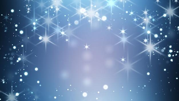 Яркий праздничный зимний фон с сияющим эффектом боке