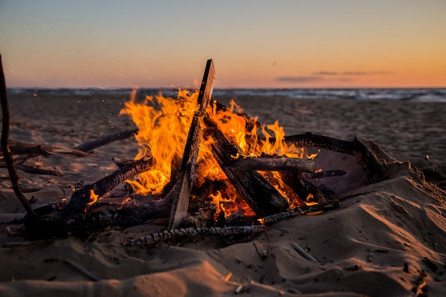 A bright fire on the beach