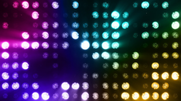 Bright flood lights flashing abstract colorful background