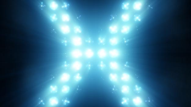 壁に明るいフラッドライトフラッシュvjステージ3 dイラスト。ブリンダー点滅ライトフラッシュクラブフラッシュライトディスコライトマトリックス白熱灯ランプハロゲンヘッドランプランプナイトクラブオフ