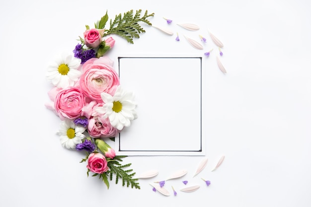 Bright flowers around frame