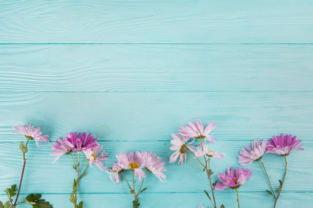 Bright flowers scattered on wooden table