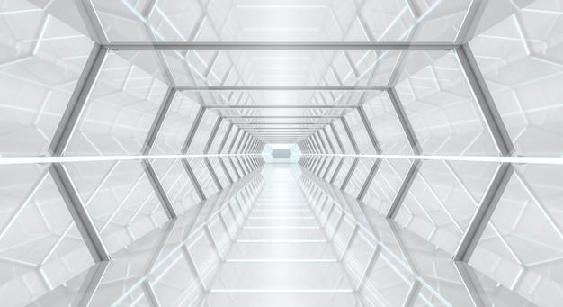 明るい未来的な宇宙船の廊下3dレンダリング