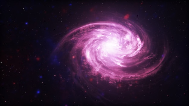 Bright galaxy. abstract stars on black background. fantasy fractal texture in red, pink and light purple colors. digital art. 3d illustration