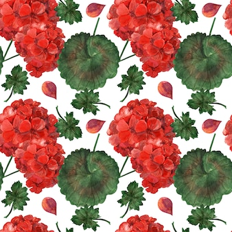 Bright geranium watercolor seamless pattern