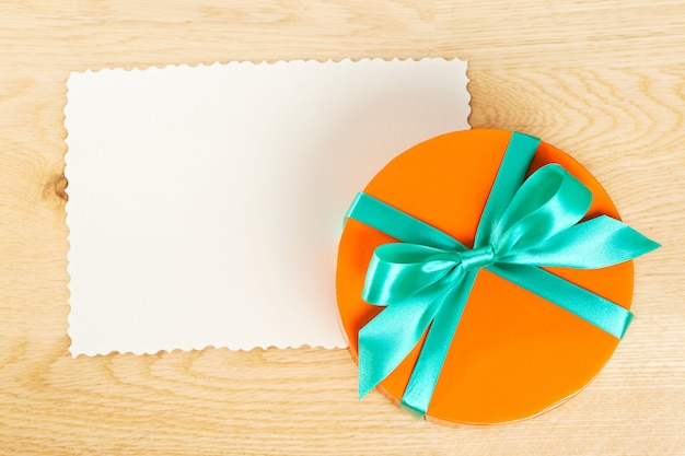 Bright gift box with paper