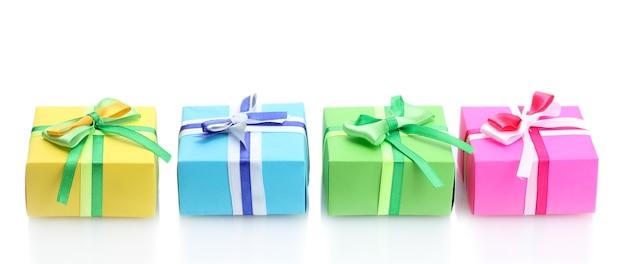 白で隔離の弓と明るい贈り物