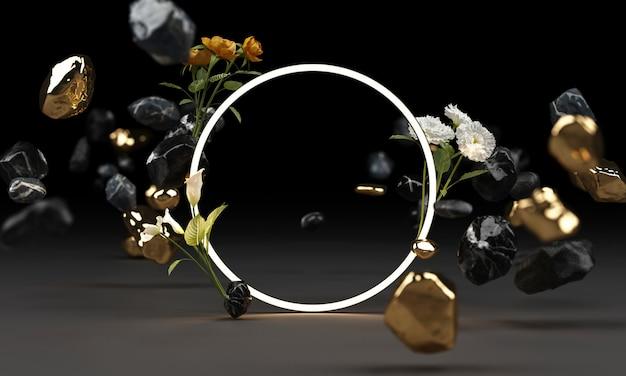Яркое свечение из геометрических фигур с белым цветком 3d-рендеринга