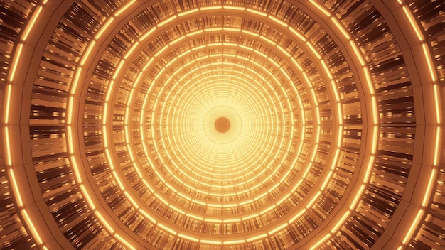 Bright golden spiral with beautiful abstract orange light effects