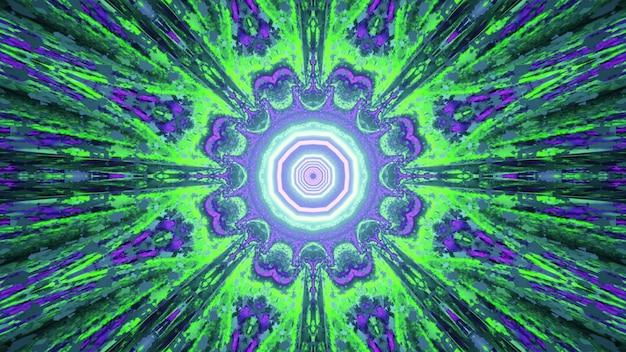 未来的なデザインのための抽象的な幾何学的な花のパターンと輝く梁と明るい緑と青のネオン色の3dイラスト