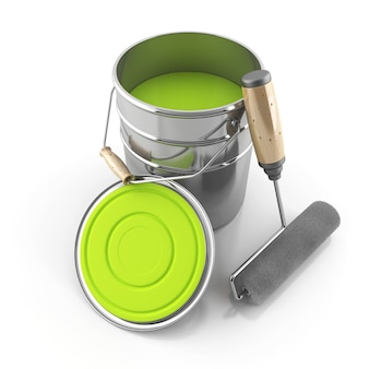 The bright green paint and a roller on an isolated