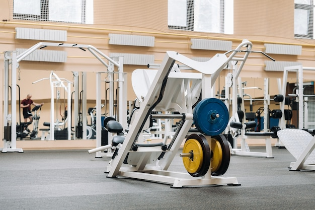 Bright gym. sports equipment in the gym.