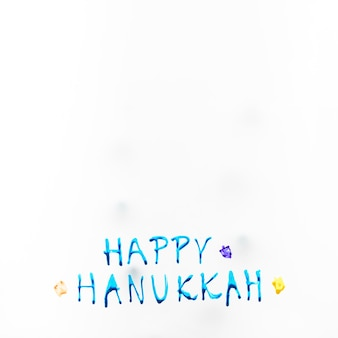 Bright happy hanukkah writing