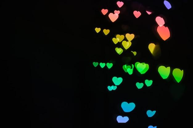 Bright heart-shaped lights