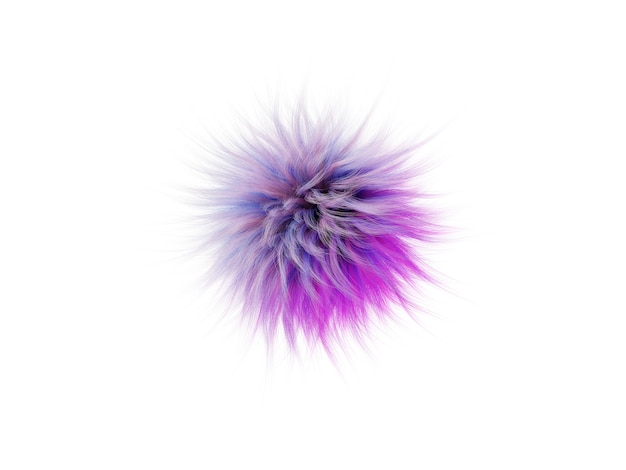 Bright highly detailed fluff of multi-colored fur bumbonchik, abstract 3d render illustration.