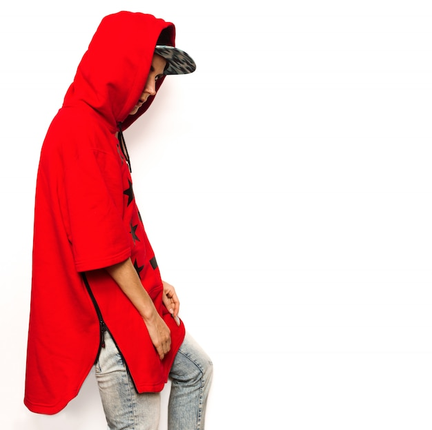 Bright hip hop model tomboy cap and stylish clothes urban style swag