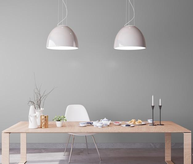 木製の大きなテーブルと明るいインテリアダイニングルーム