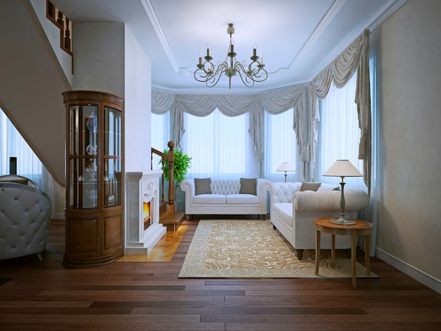 Bright interior of expensive living with fireplace and white upholstery sofas with beige pattrern carpet.