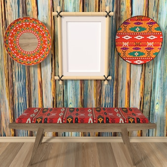Bright interior mocap ethno home. the painted ornament traditional african dishes