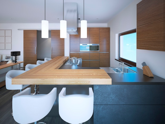 Яркая кухня-студия в стиле ар-деко и белые стены и коричневые шкафы в стиле зебрано.