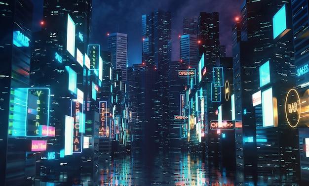 Яркие светодиодные вывески на зданиях в мегаполисе