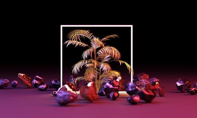 熱帯の葉の幾何学的形状からの明るい光の輝き3 dレンダリング