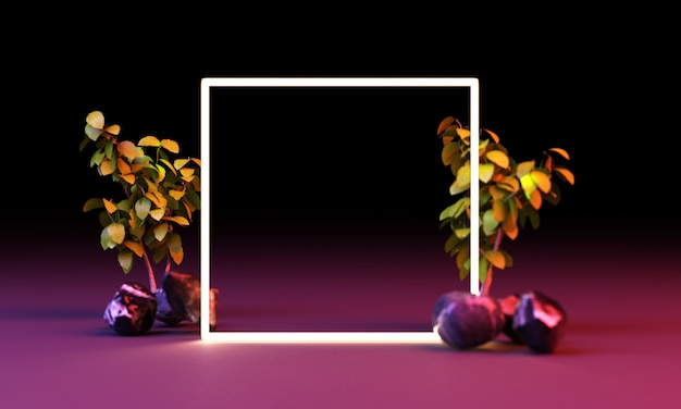Bright light glow from geometric shapes with tropical leaves 3d rendering