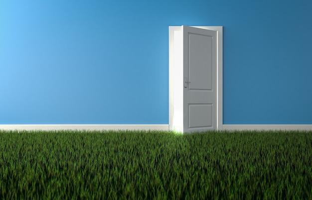 床に草が生えている部屋の開いたドアから輝く明るい光。自然の概念。 3dレンダリング