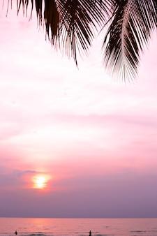 Яркий сиреневый закат на берегу моря, с свисающими листьями пальм