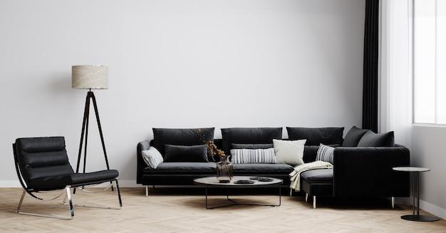 검은 색 소파, 검은 안락 의자 및 현대 램프가있는 모형을위한 밝은 거실